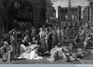 L0004078 The plague of Athens. Line engraving by J. Fittler after M. Credit: Wellcome Library, London. Wellcome Images images@wellcome.ac.uk http://wellcomeimages.org The plague of Athens. Line engraving by J. Fittler after M. Sweerts. 1811 By: Michael Sweertsafter: James FittlerPublished: 1811 Copyrighted work available under Creative Commons Attribution only licence CC BY 4.0 http://creativecommons.org/licenses/by/4.0/