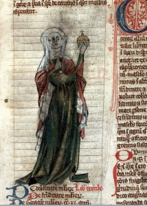 L0015682 Female healer, ?Trotula, holding urine flask, 14th C Credit: Wellcome Library, London. Wellcome Images images@wellcome.ac.uk http://wellcomeimages.org Pen and wash drawing showing a standing female healer, perhaps of Trotula, clothed in red and green with a white headdress, holding up a urine flask to which she points with her right hand. Pen and wash Early 14th century Miscellanea medica XVIII Published: Early 14th century Copyrighted work available under Creative Commons Attribution only licence CC BY 4.0 http://creativecommons.org/licenses/by/4.0/