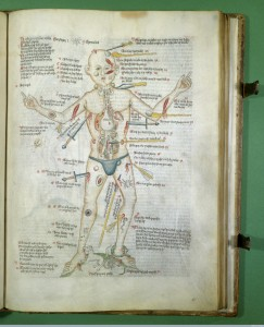 L0000839 Wound-man with injuries, legend in German. Credit: Wellcome Library, London. Wellcome Images images@wellcome.ac.uk http://wellcomeimages.org Wound-man with injuries, legend in German. Ink and Watercolour Circa 1420-30 MS 49 Apocalypse, (The), [etc.]. Apocalypsis S. Johannis cum glossis et Vita S. Johannis; Ars Moriendi, etc.; Anatomical, medical, texts, theological moral and allegorical 'exempla' and extracts, a few in verse. Published: - Copyrighted work available under Creative Commons Attribution only licence CC BY 4.0 http://creativecommons.org/licenses/by/4.0/